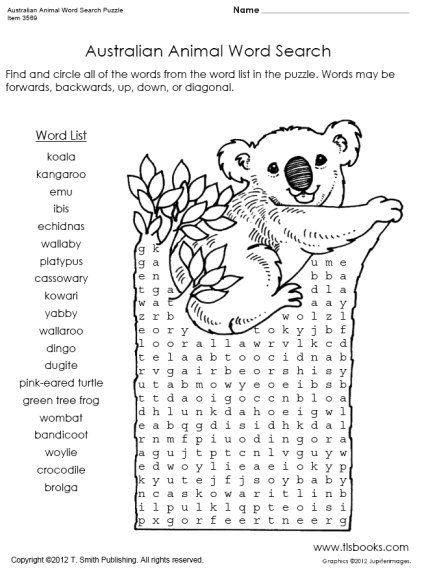 Snapshot image of Australian Animal Word Search Puzzle
