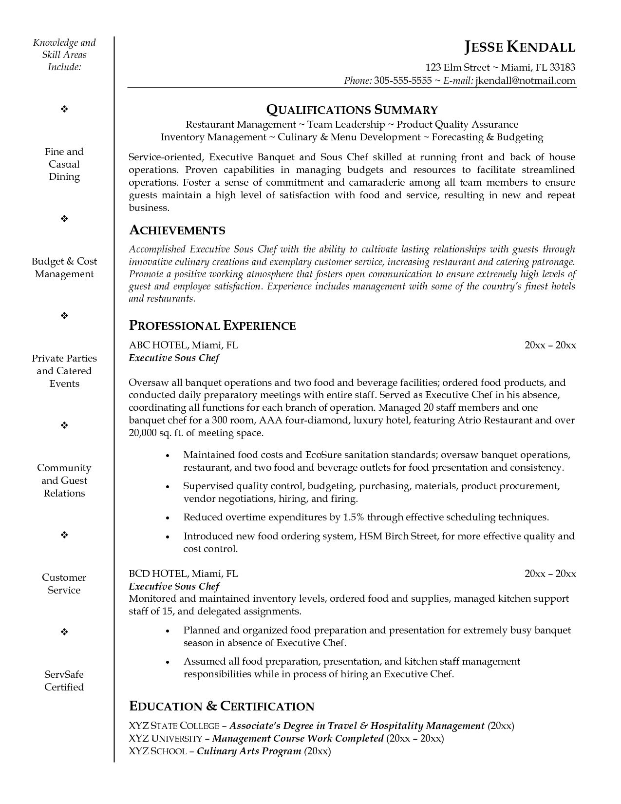 Pastry Cook Resume Example Chef Sample Examples Sous Cover Letters