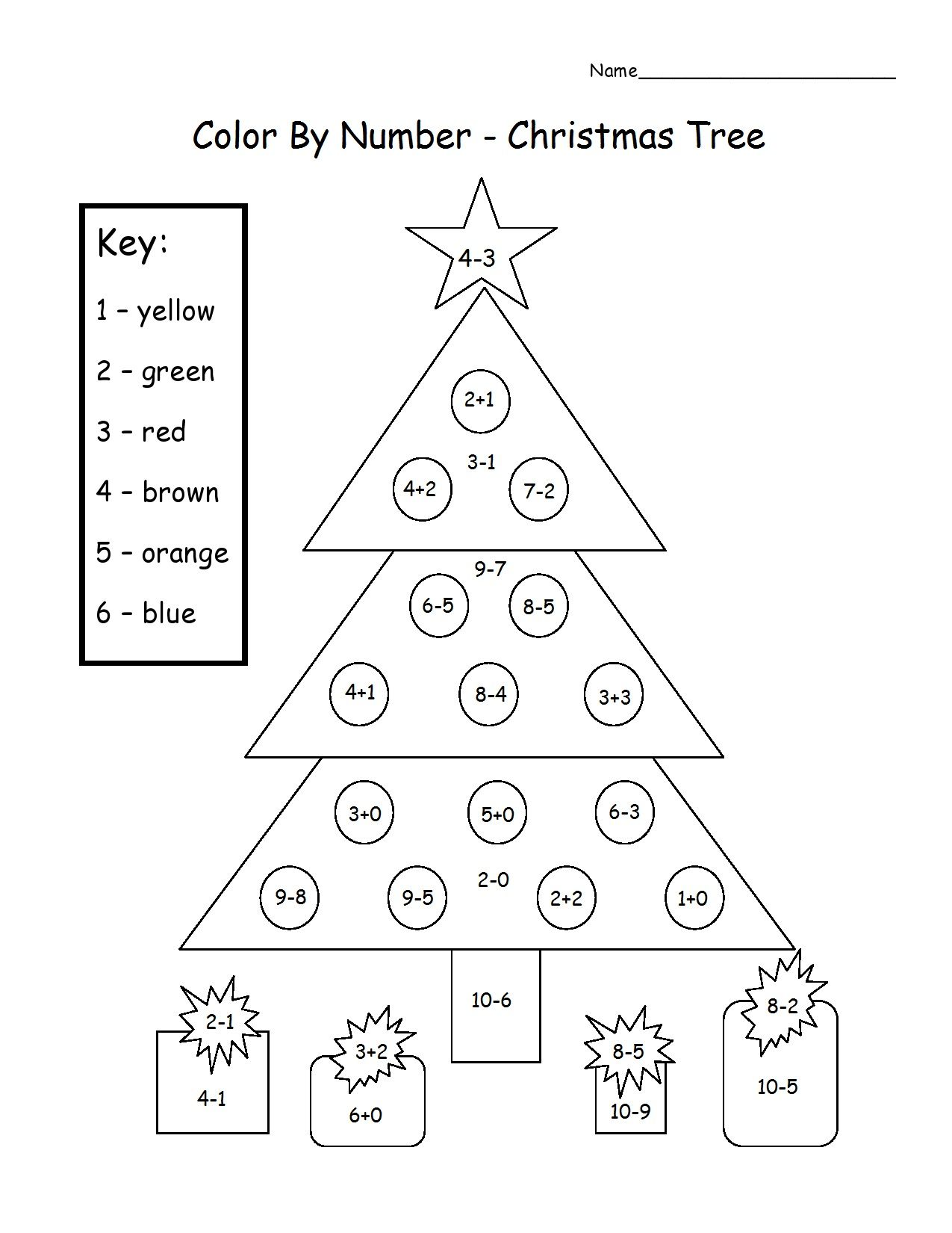 Christmas Tree Color By Number Add Amp Subtract Printable Worksheet