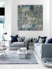 Large abstract painting teal blue navy grey gray white ...