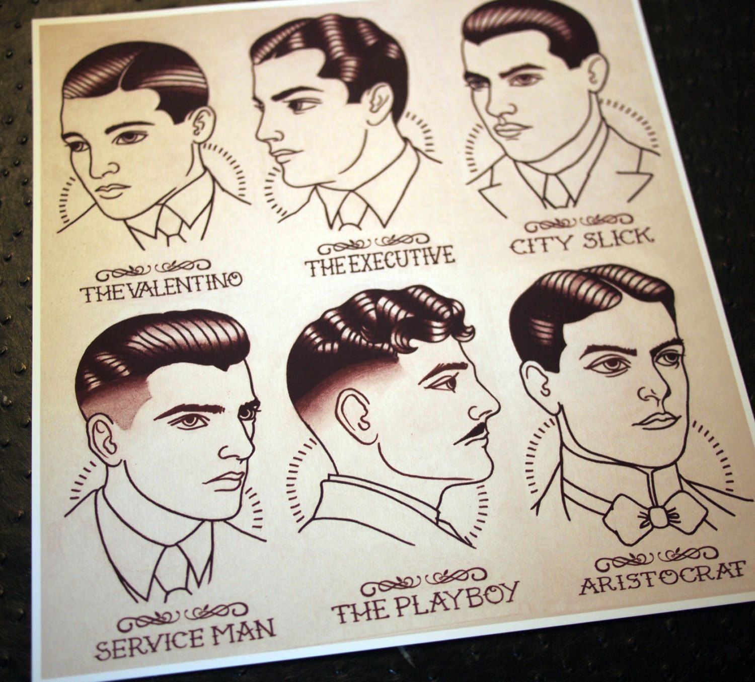 "1920's Gentlemen's Hairstyle Barber Barbering Guide 11""x11 5"