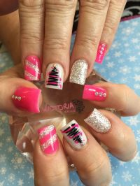 Pink Christmas nails! Hand painted Christmas tree with ...