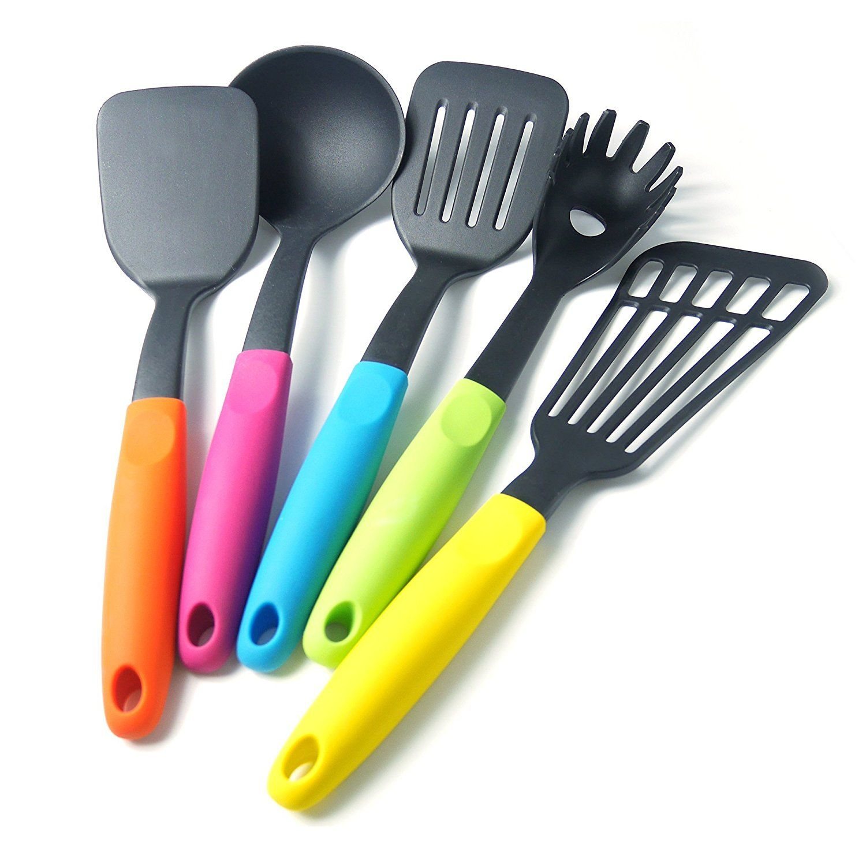 kitchen utensil set best stainless steel sinks lemcase nylon cooking 5 piece