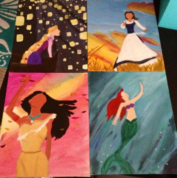Painted Favorite Disney Princesses With Acrylics Canvas. Captured Moments In Movies