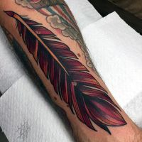 Impressive Red And Black Feather Tattoo Design For Men ...