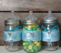 Baby shower favor, Mason jars, blue, baby bottle, baby ...