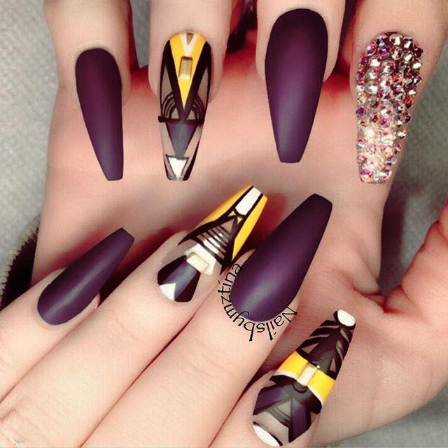 Matte Burgundy Nails Coffin Shape