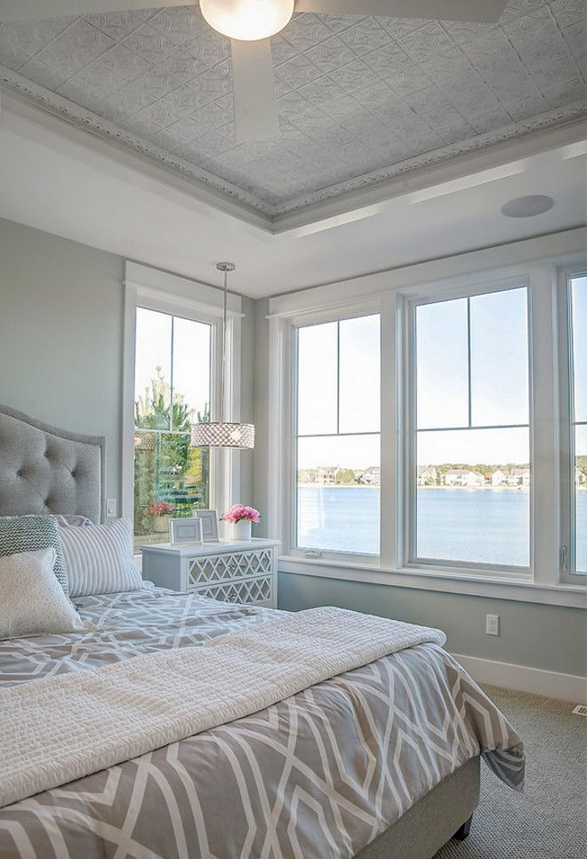 Love This Pressed Tin Ceiling Neutral Beach House Master Bedroom
