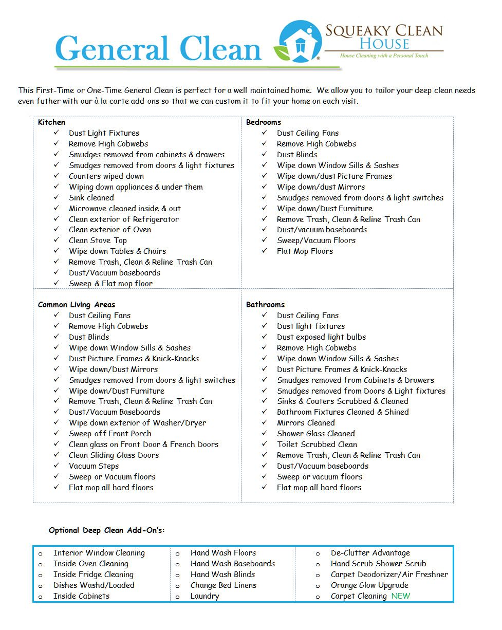 General Clean Image  Home  Pinterest  Cleaning business Business and Cleaning check lists