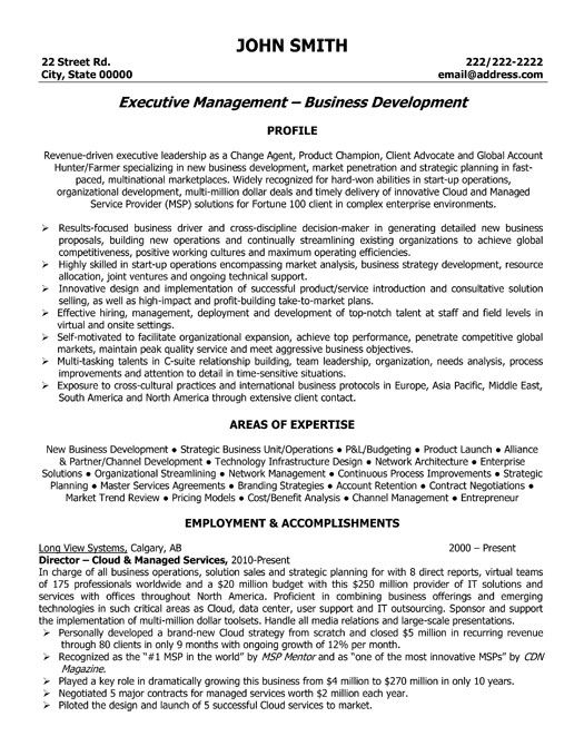 Executive Resume Examples And Samples - Examples of Resumes