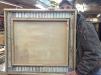 Custom made Rustic barn board and corrugated metal mirror