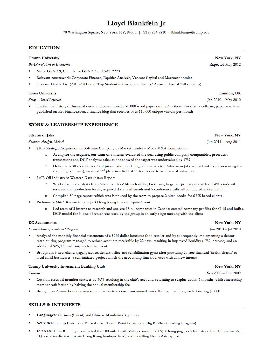 Investment Banker Resume Sample Resumecareer Info