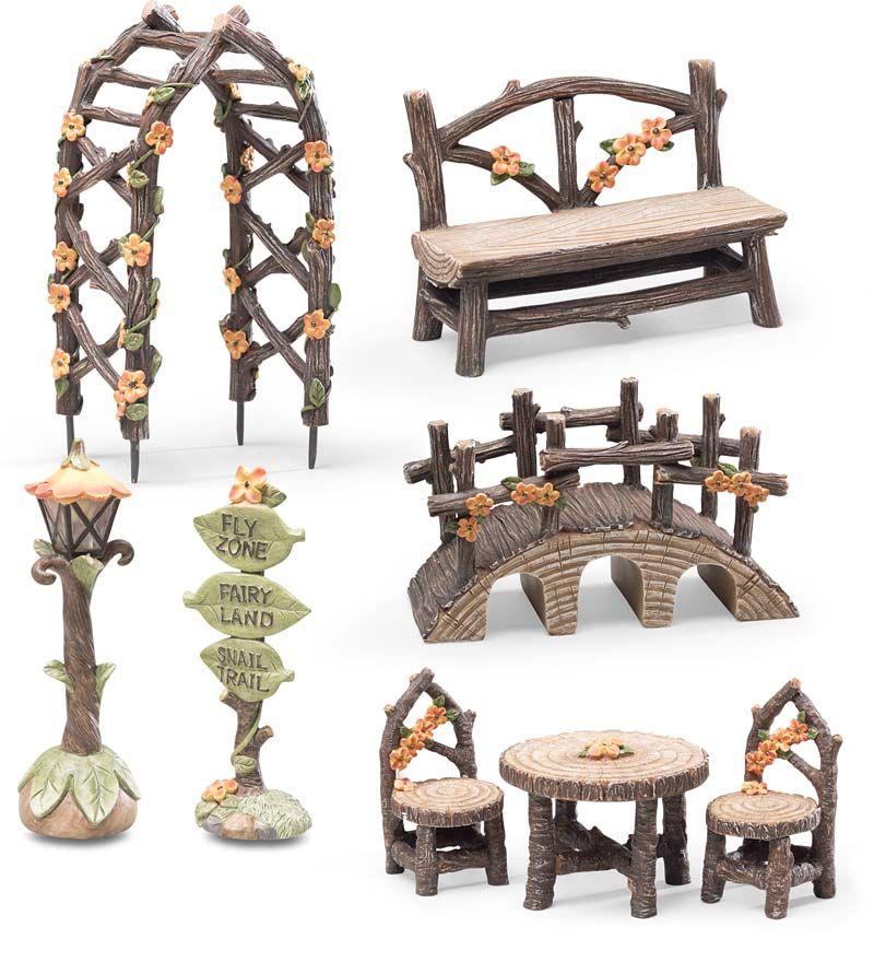 FlyZone Fairyland 8 Piece Fairy Garden Accessory Set Includes