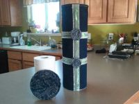 Toilet paper holder made out of old jeans n baby formulas ...