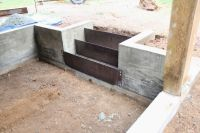 Concrete retaining wall and corten steel risers | stairs ...