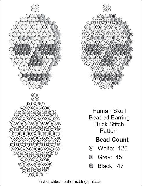 Brick Stitch Bead Patterns Journal: Human Skull Free Brick