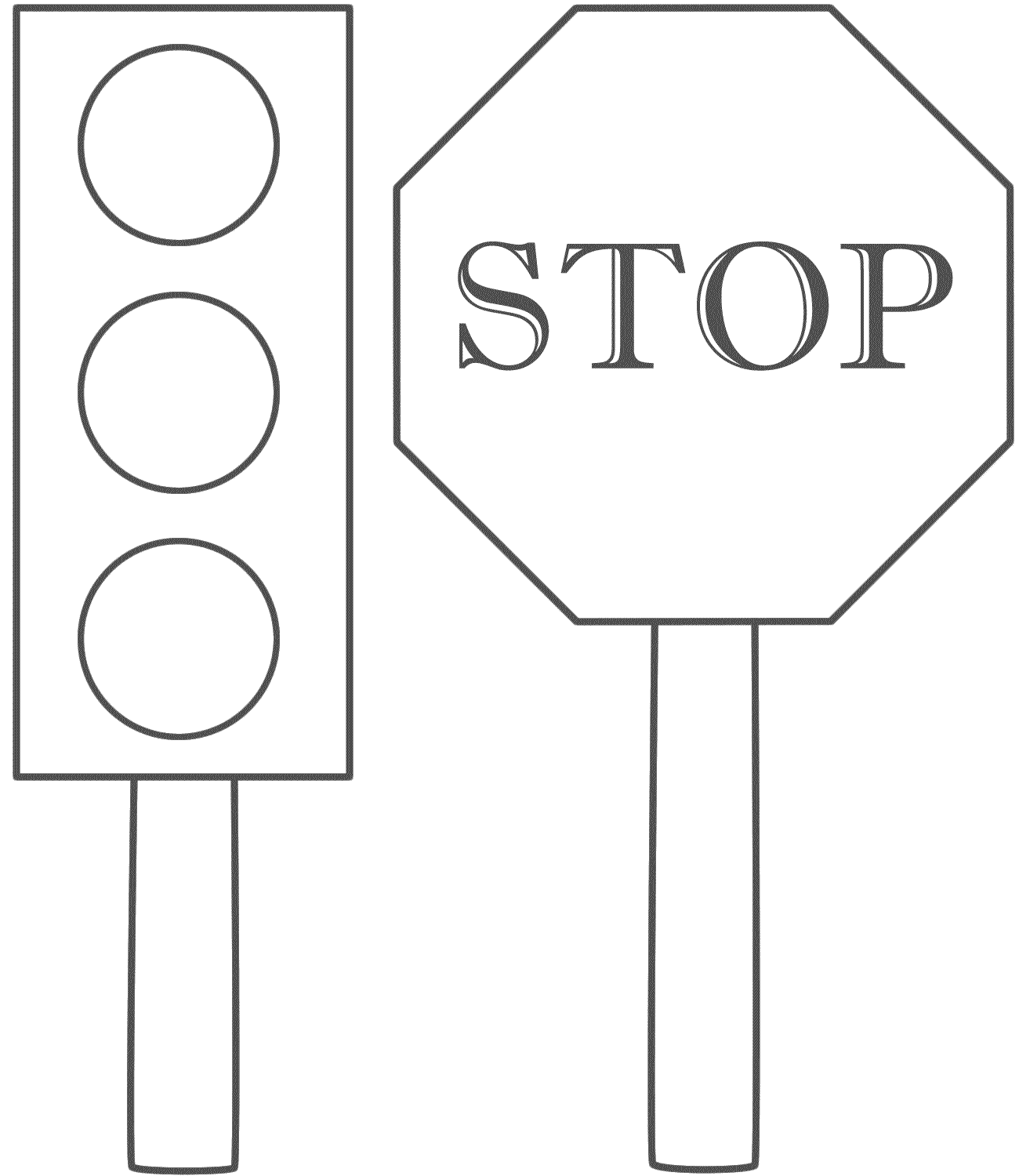 Stoplightcoloringpage Traffic Light And Stop Sign