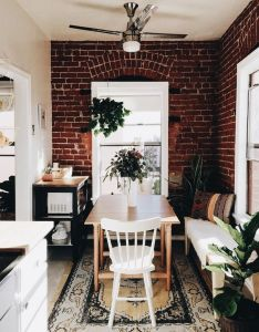 Bungalow home dining room area with exposed brick wall interiors also pin by stina anderson on pinterest apartments future and rh