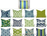 Outdoor Pillows or Indoor Custom Cover - Navy Blue Green ...