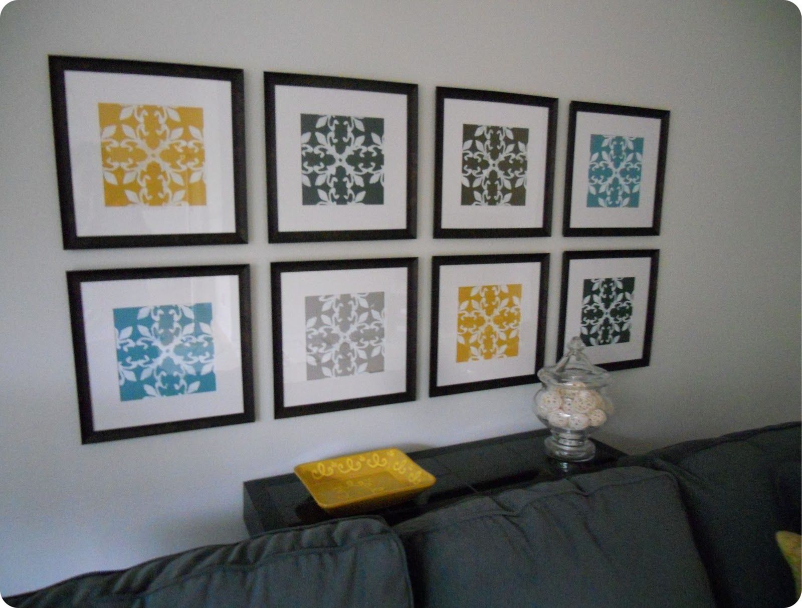 Gallery Wall Made From Inexpensive Frames, Scrapbook Paper