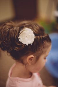 flower girl hair updo, braided twist into an upside down ...