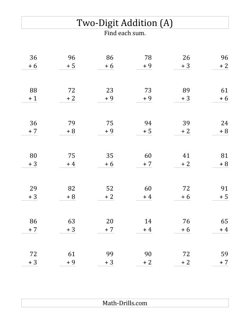 Multiplication 2 Digit By 1 Digit No Regrouping Worksheets  Math Worksheets On Graph Paper Free