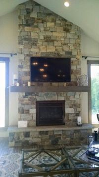 Fireplace with tv above, vaulted ceiling
