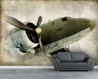 Picture wall paper, Vintage Retro propeller airplane wall