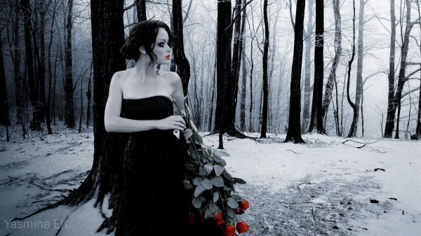 Winter Gothic Forest Girl