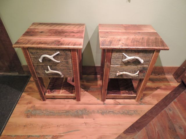 2 Drawer Barn Wood Nightstand with Antler Pulls Thin Top $365