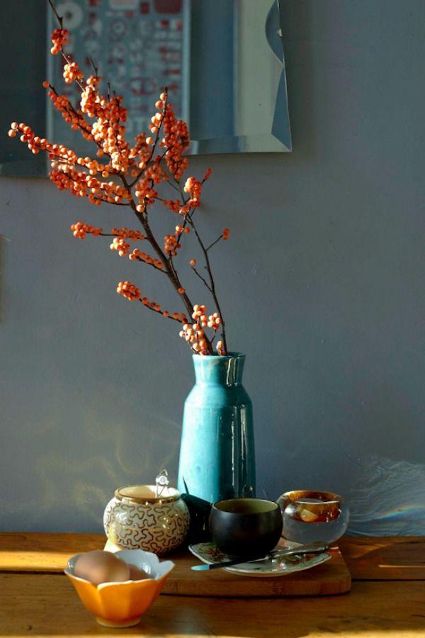 Herfst sfeer in huis met warme en vergrijsde tinten roze