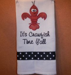kitchen towel with a fleur de lis crawfish great by sixisenough 16 50 [ 1500 x 1125 Pixel ]