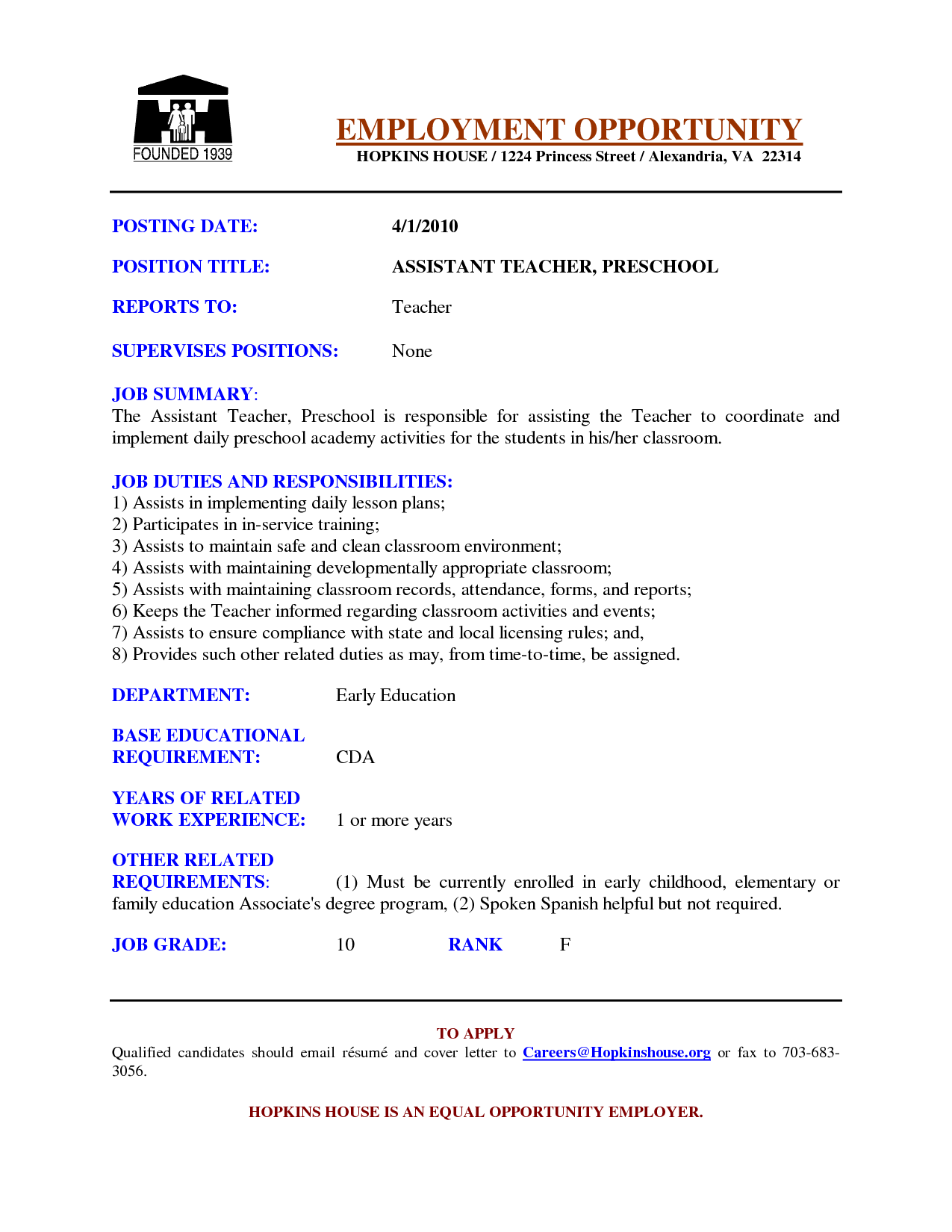 Resume For Assistant Teacher Preschool Assistant Teacher Resume Examples Google