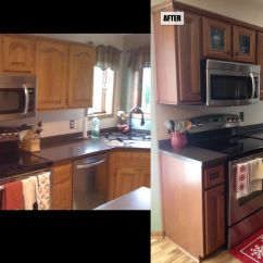 Refacing Kitchen Cabinets Before And After Comfort Mats Cabinet Flooring Replacement