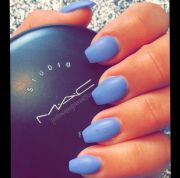 blue-purple matte baby coffin nails