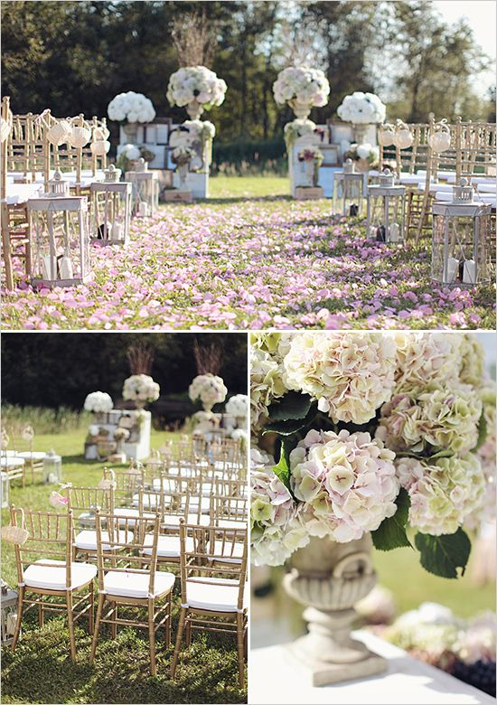 Outdoor Wedding Ceremony Ideas With Gold Chiavari Chairs And Tons