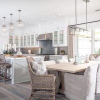 Grey - white modern farmhouse kitchen & dining nook ...