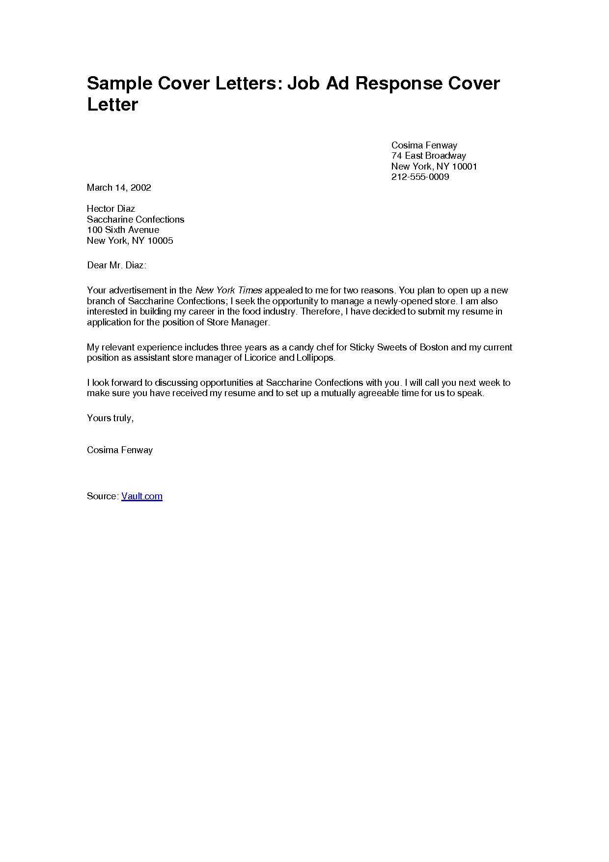 Simple Sample Cover Letter For Resume