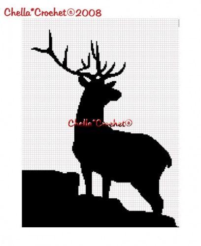 Chella Crochet Deer Silhouette Buck Stag Afghan Crochet