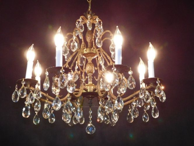 Huge Antique French Brass Or Bronze Lead Cut Crystal Pinele Chandelier