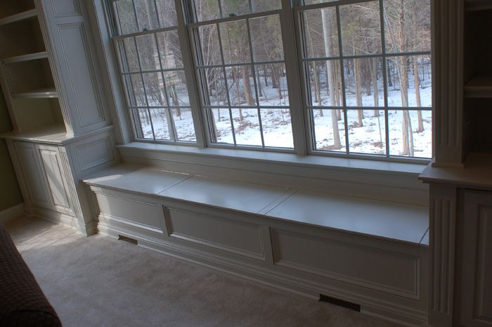 Window built ins on Pinterest  Window Seats Bookshelves