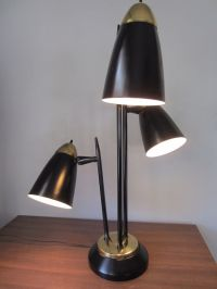 VTG 3 BULLET SHADE TABLE LAMP BLACK MID CENTURY MODERN