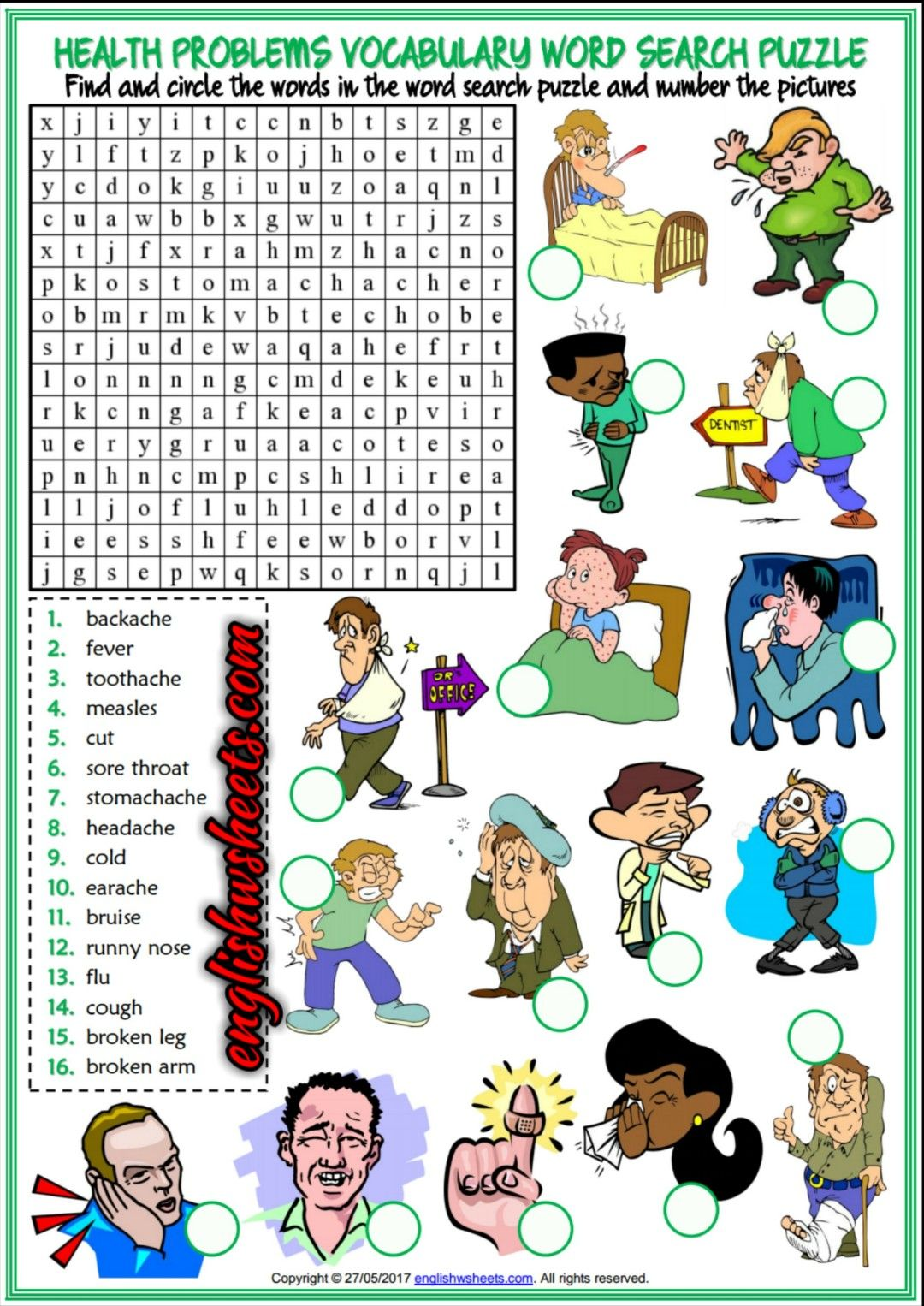 Health Problems Illnesses Ailments Esl Printable Word