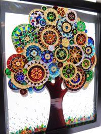 Tree of life art 15x12 Bohemian decor Wall decor Glass ...