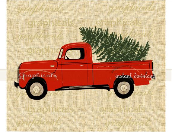 Christmas Red Truck Tree Instant Clip Art Digital Download For Iron On Image Transfer To Fabric