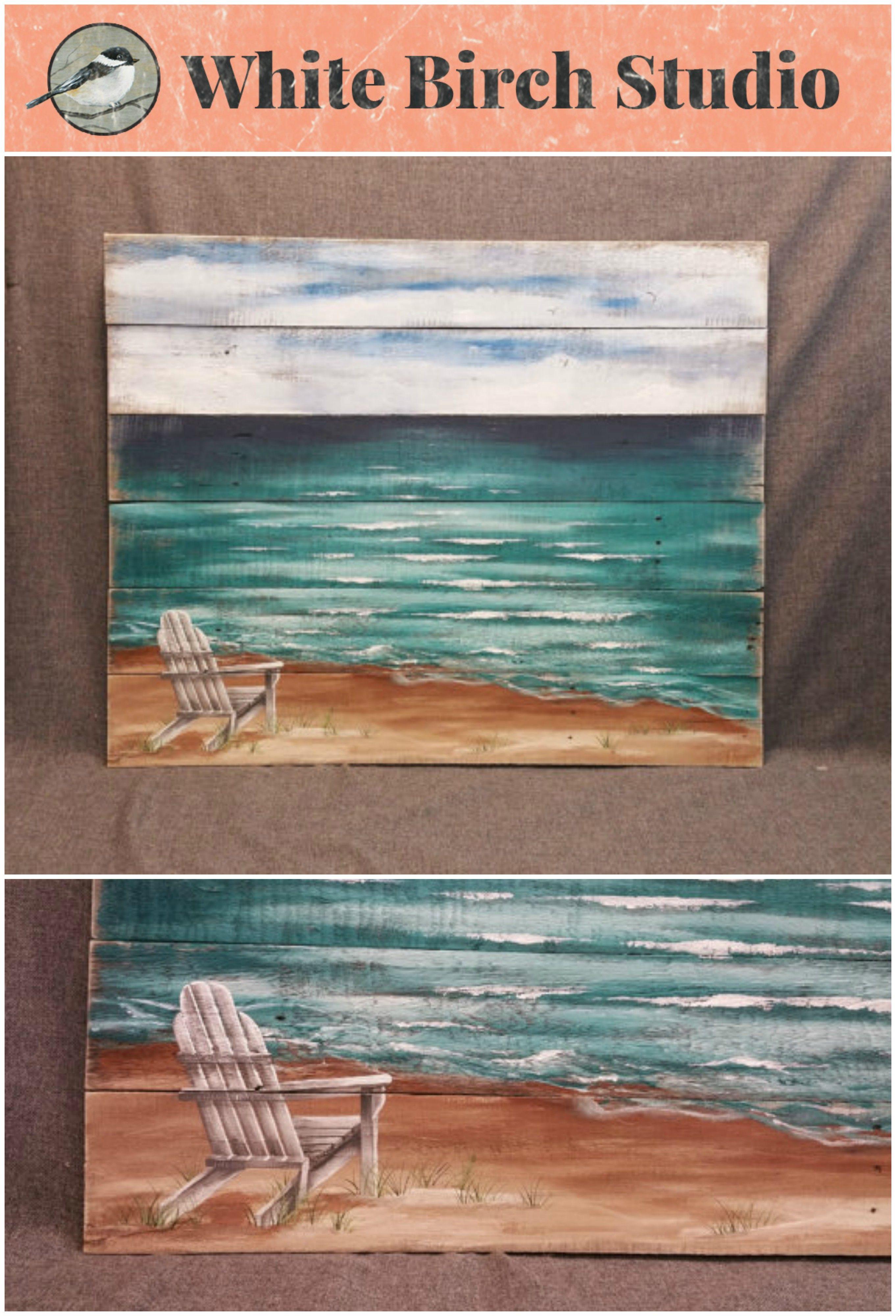 distressed adirondack chairs modern dining room chair handpainted beach scene seascape horizon ocean and sky