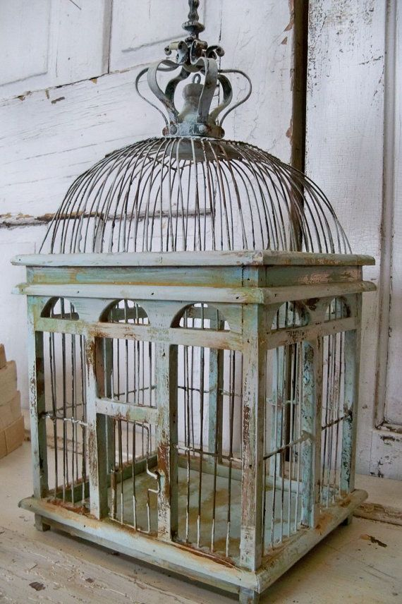 Blue Sea Foam Bird Cage Distressed Rusty Rustic Metal Wood With