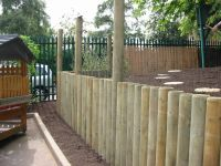 """log retaining wall"" design | Full-round log retaining ..."