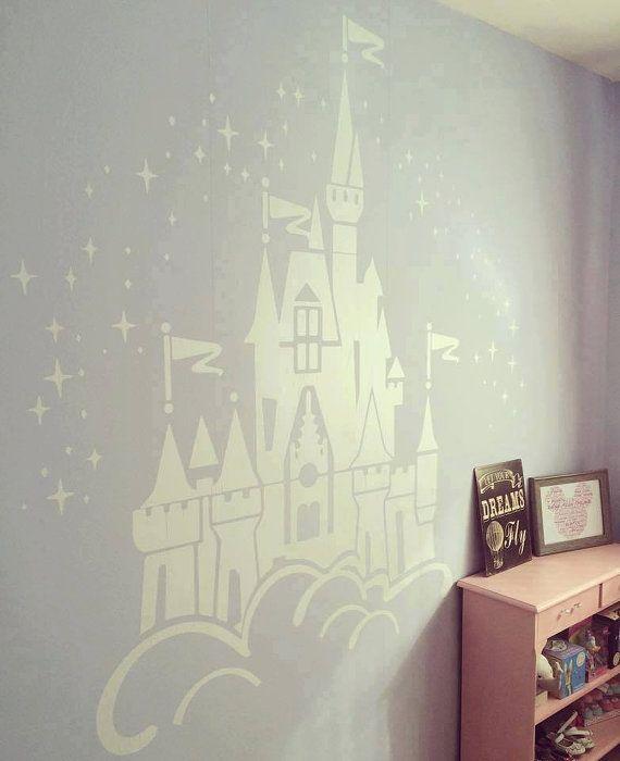 Floating Disney Fairy Castle Wall Sticker, Vinyl Decal