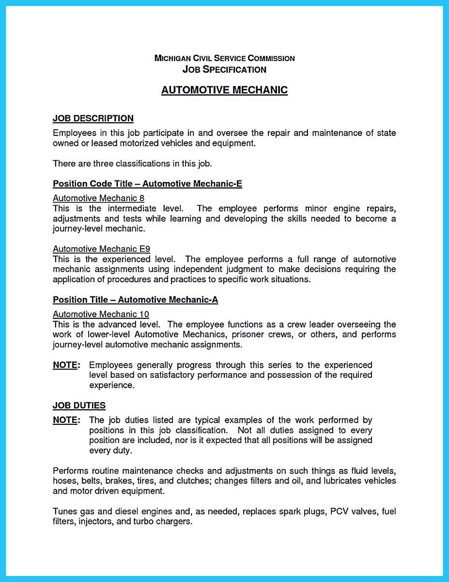 Resume Objective For Mechanic